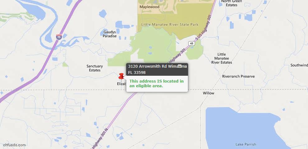 USDA Loan Eligiblity Map - 3120 Arrowsmith Rd, Wimauma, FL 33598