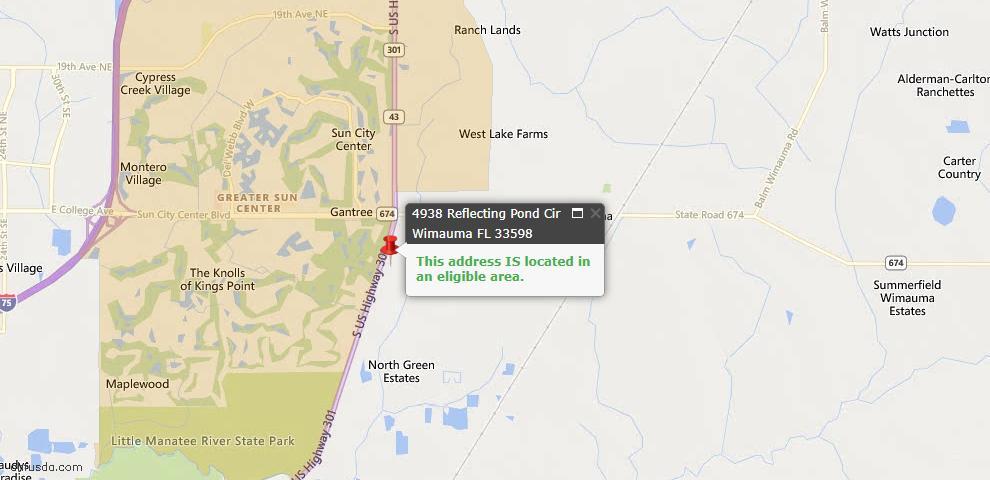 USDA Loan Eligiblity Maps From - Wimauma, FL