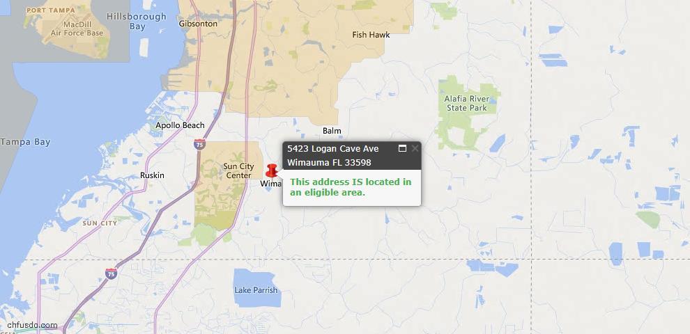 USDA Loan Eligiblity Map - 5423 Logan Cave Ave, Wimauma, FL 33598