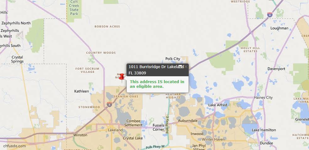 USDA Loan Eligiblity Map - 1011 Burrisridge Dr, Lakeland, FL 33809