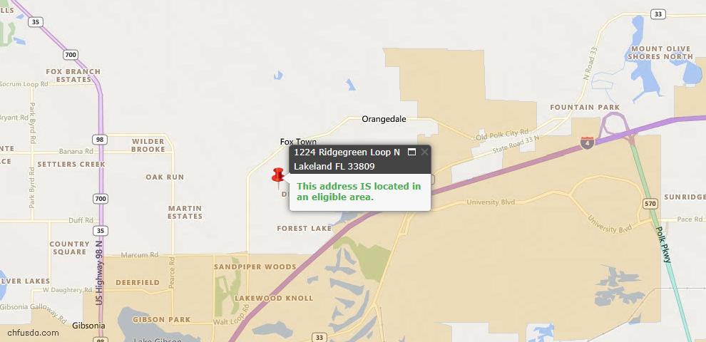 USDA Loan Eligiblity Map - 1224 Ridgegreen Loop N, Lakeland, FL 33809