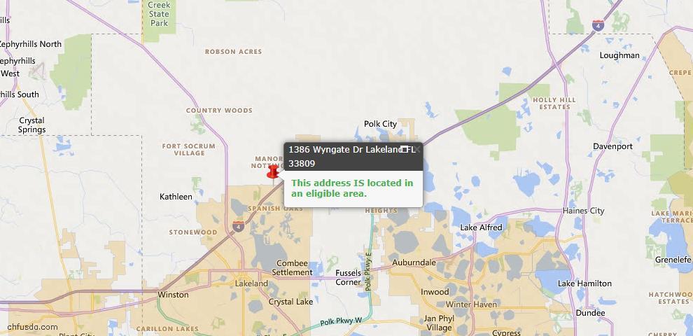 USDA Loan Eligiblity Map - 1386 Wyngate Dr, Lakeland, FL 33809