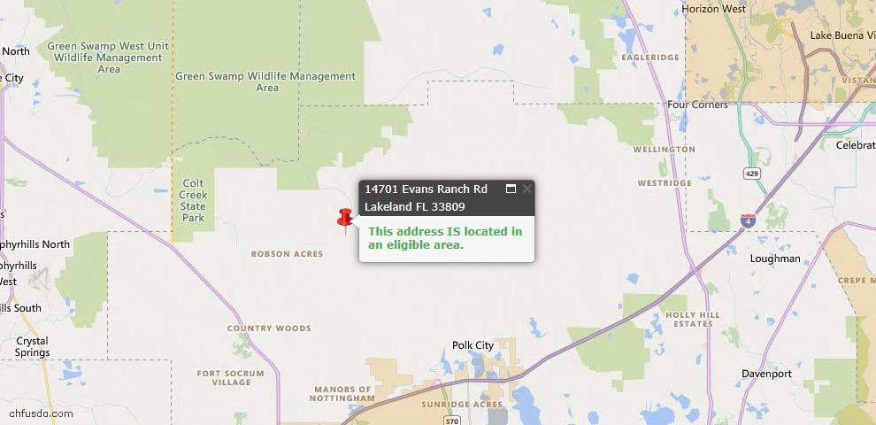 USDA Loan Eligiblity Map - 14701 Evans Ranch Rd, Lakeland, FL 33809