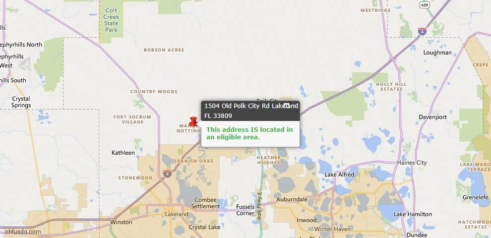 USDA Loan Eligiblity Map - 1504 Old Polk City Rd, Lakeland, FL 33809