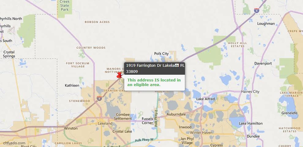 USDA Loan Eligiblity Map - 1919 Farrington Dr, Lakeland, FL 33809
