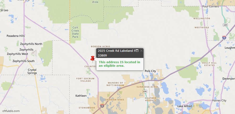 USDA Loan Eligiblity Map - 2025 Creek Rd, Lakeland, FL 33809