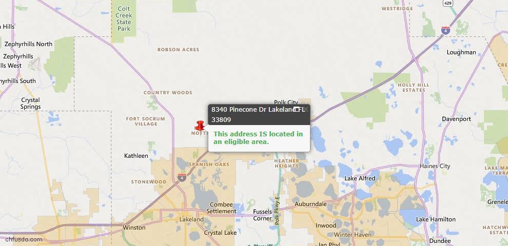 USDA Loan Eligiblity Map - 8340 Pinecone Dr, Lakeland, FL 33809