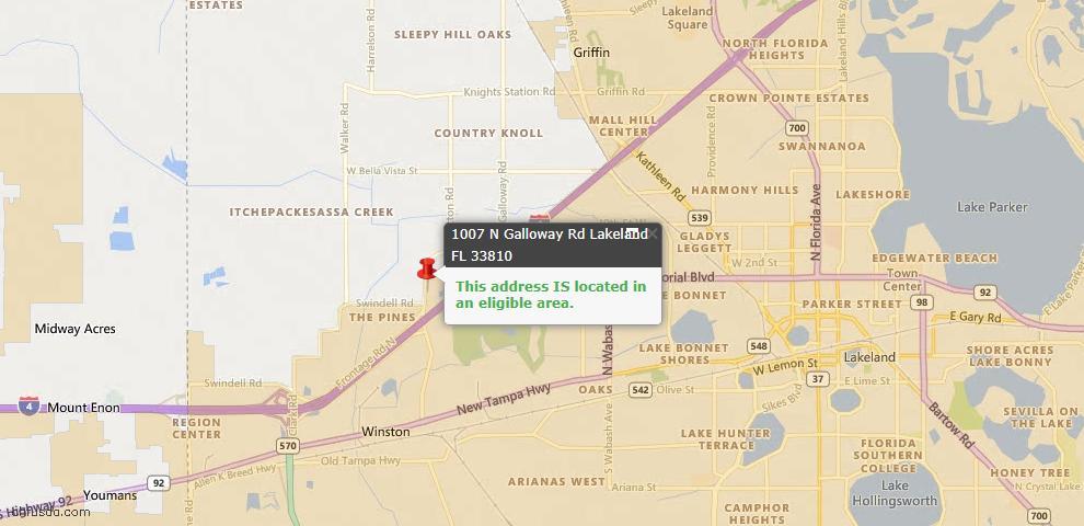 USDA Loan Eligiblity Map - 1007 N Galloway Rd, Lakeland, FL 33810