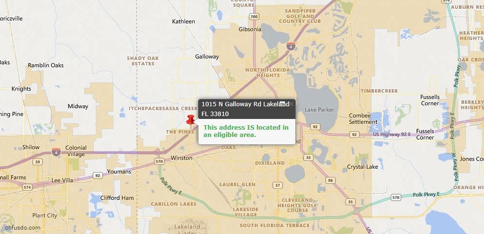 USDA Loan Eligiblity Map - 1015 N Galloway Rd, Lakeland, FL 33810
