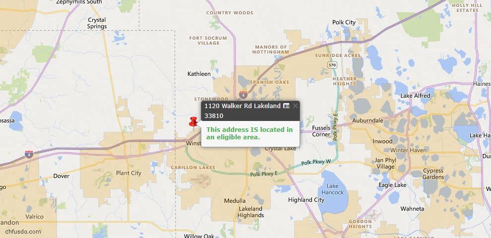 USDA Loan Eligiblity Map - 1120 Walker Rd, Lakeland, FL 33810