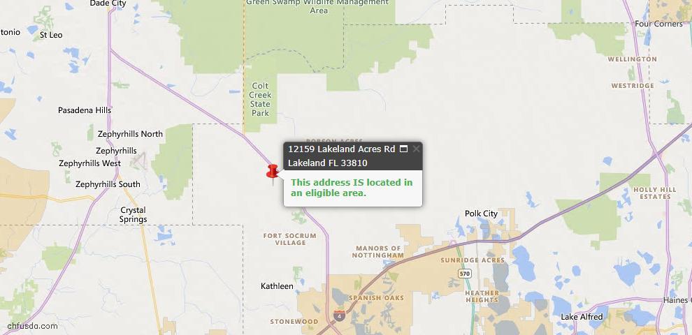 USDA Loan Eligiblity Map - 12159 Lakeland Acres Rd, Lakeland, FL 33810