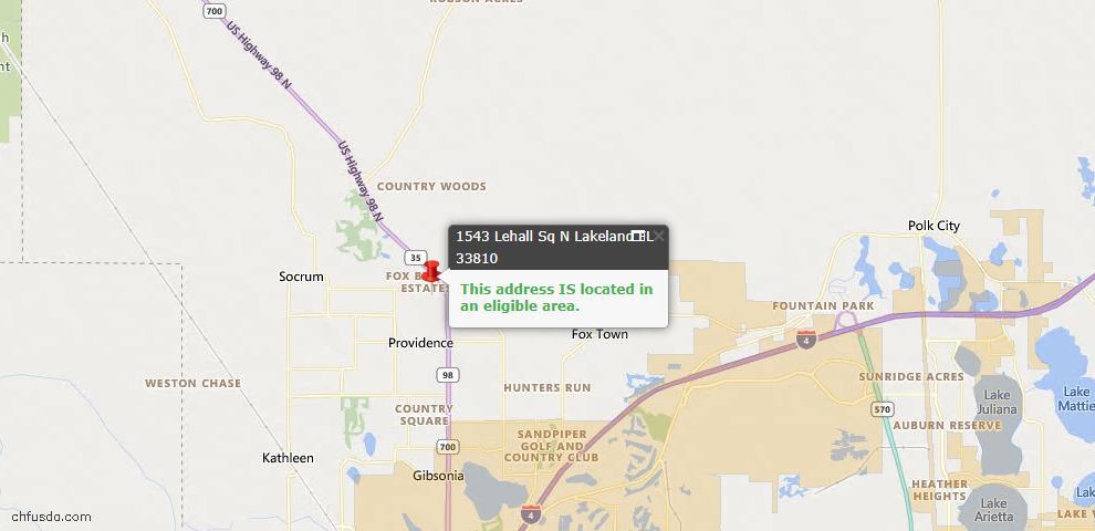 USDA Loan Eligiblity Map - 1543 Lehall Sq N, Lakeland, FL 33810
