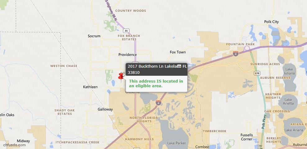 USDA Loan Eligiblity Map - 2017 Buckthorn Ln, Lakeland, FL 33810