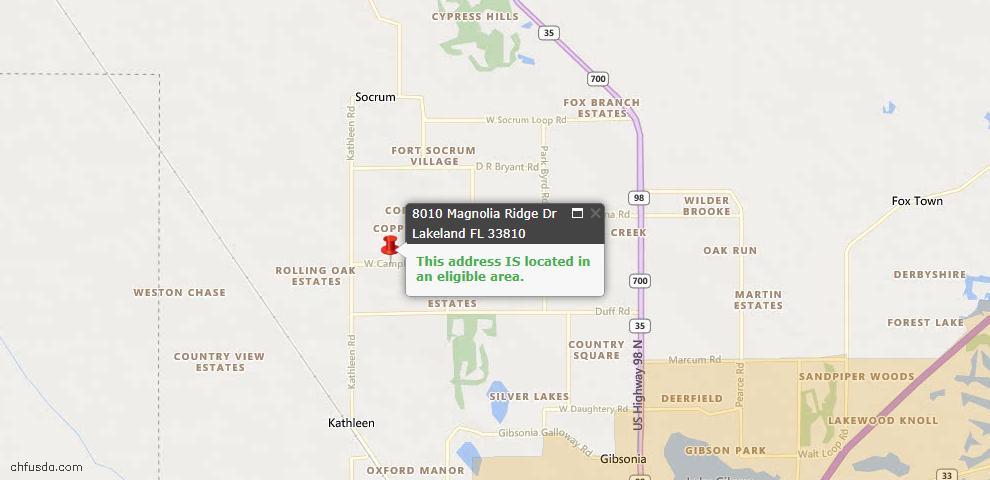 USDA Loan Eligiblity Map - 8010 Magnolia Ridge Dr, Lakeland, FL 33810