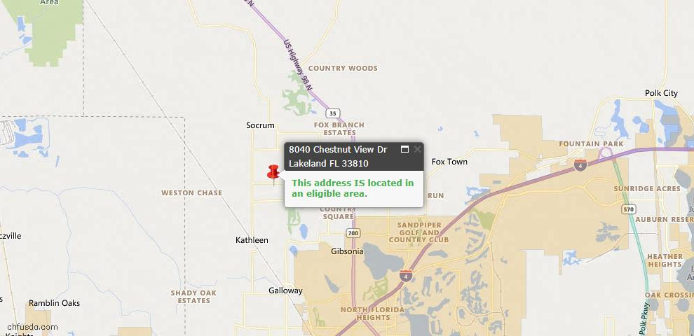 USDA Loan Eligiblity Map - 8040 Chestnut View Dr, Lakeland, FL 33810