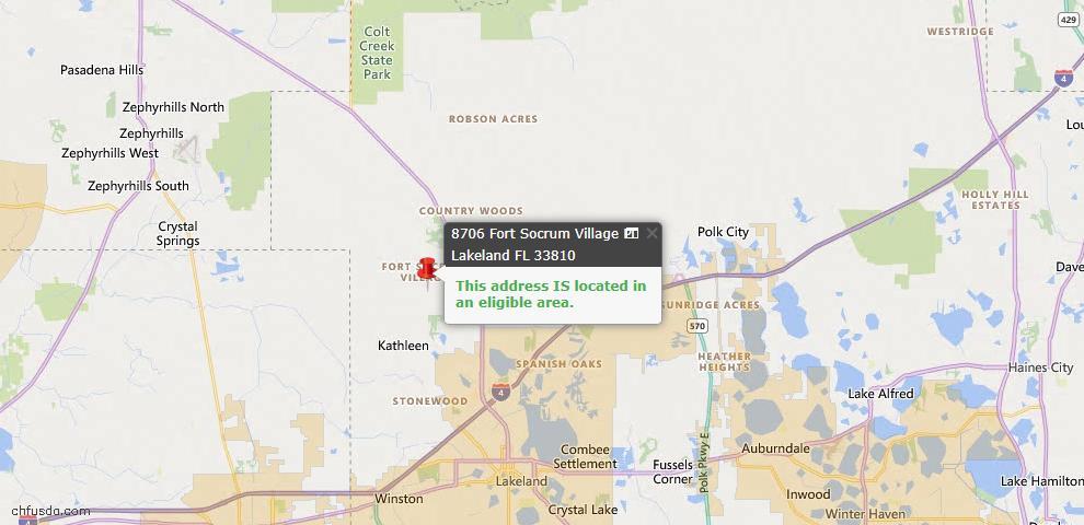 USDA Loan Eligiblity Map - 8706 Fort Socrum Village Pl, Lakeland, FL 33810