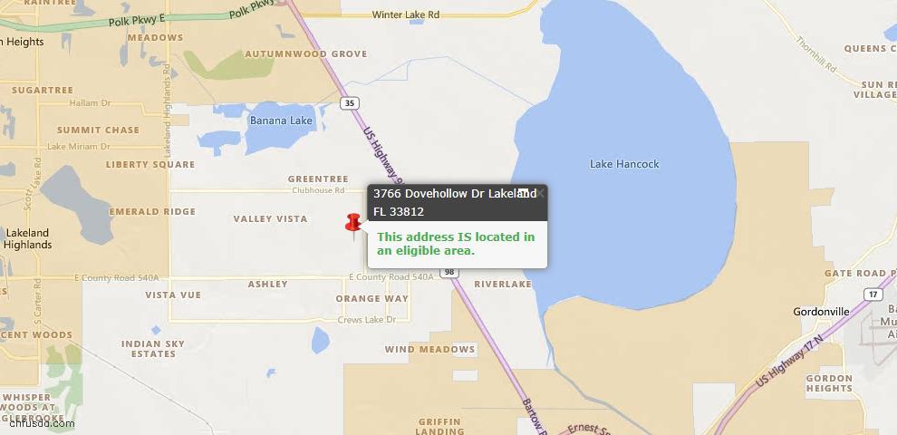USDA Loan Eligiblity Map - 3766 Dovehollow Dr, Lakeland, FL 33812