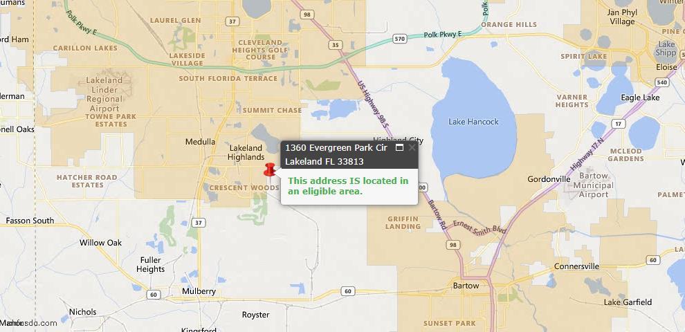 USDA Loan Eligiblity Map - 1360 Evergreen Park Cir, Lakeland, FL 33813