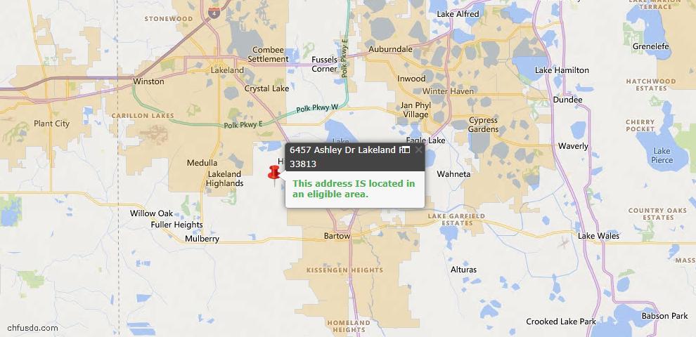 USDA Loan Eligiblity Map - 6457 Ashley Dr, Lakeland, FL 33813