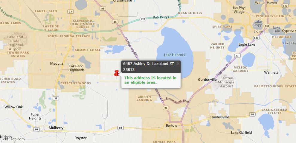 USDA Loan Eligiblity Map - 6487 Ashley Dr, Lakeland, FL 33813