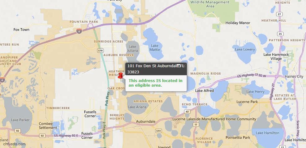 USDA Loan Eligiblity Map - 101 Fox Den St, Auburndale, FL 33823