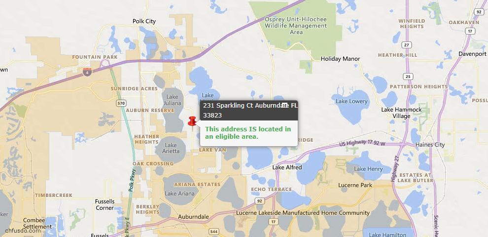 USDA Loan Eligiblity Map - 231 Sparkling Ct, Auburndale, FL 33823