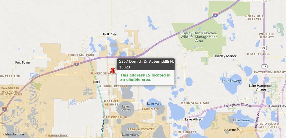 USDA Loan Eligiblity Map - 5357 Dornich Dr, Auburndale, FL 33823