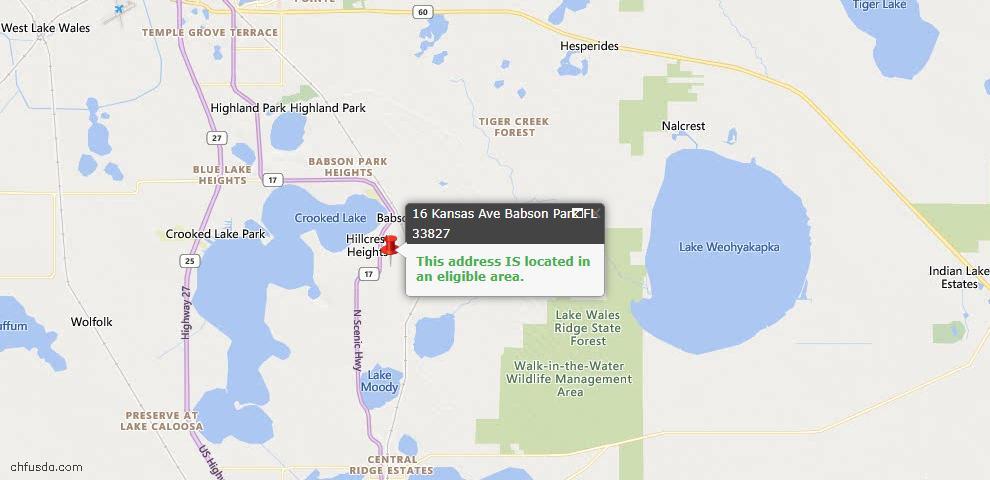 USDA Loan Eligiblity Map - 16 Kansas Ave, Babson Park, FL 33827