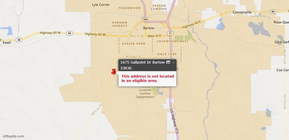 USDA Loan Eligiblity Maps From - Bartow, FL