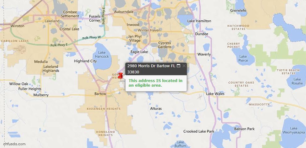 USDA Loan Eligiblity Map - 2980 Morris Dr, Bartow, FL 33830