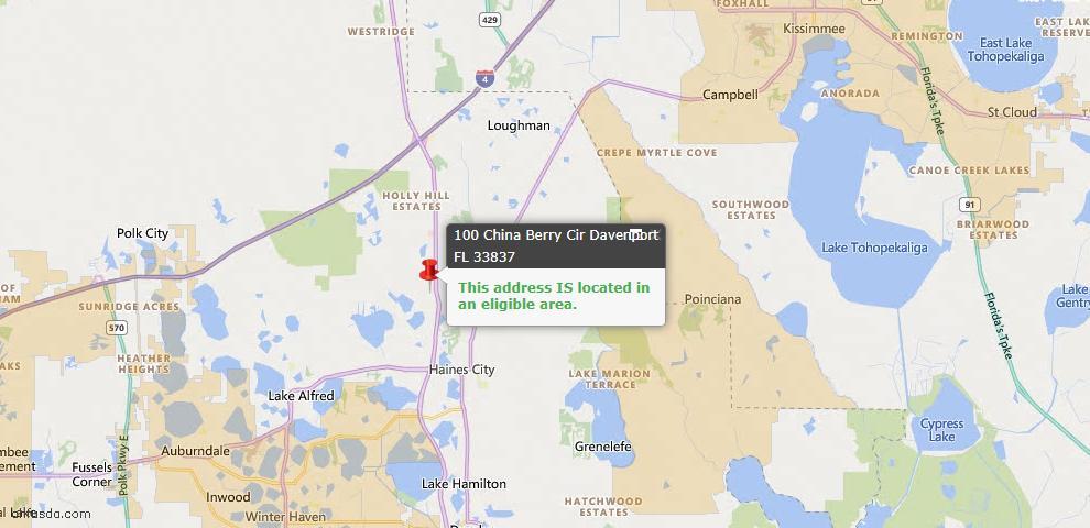 USDA Loan Eligiblity Map - 100 China Berry Cir, Davenport, FL 33837