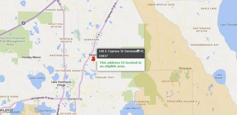 USDA Loan Eligiblity Map - 100 E Cypress St, Davenport, FL 33837
