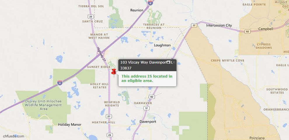 USDA Loan Eligiblity Map - 103 Vizcay Way, Davenport, FL 33837