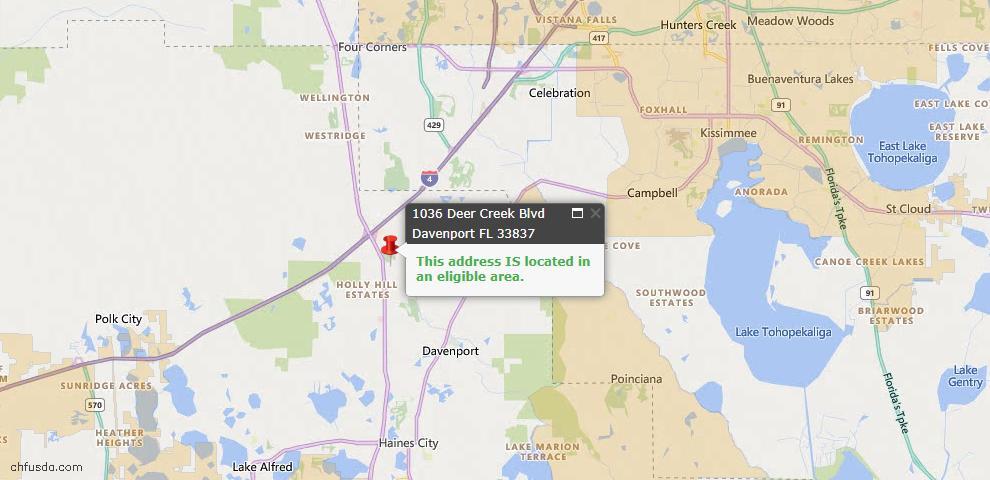 USDA Loan Eligiblity Map - 1036 Deer Creek Blvd, Davenport, FL 33837