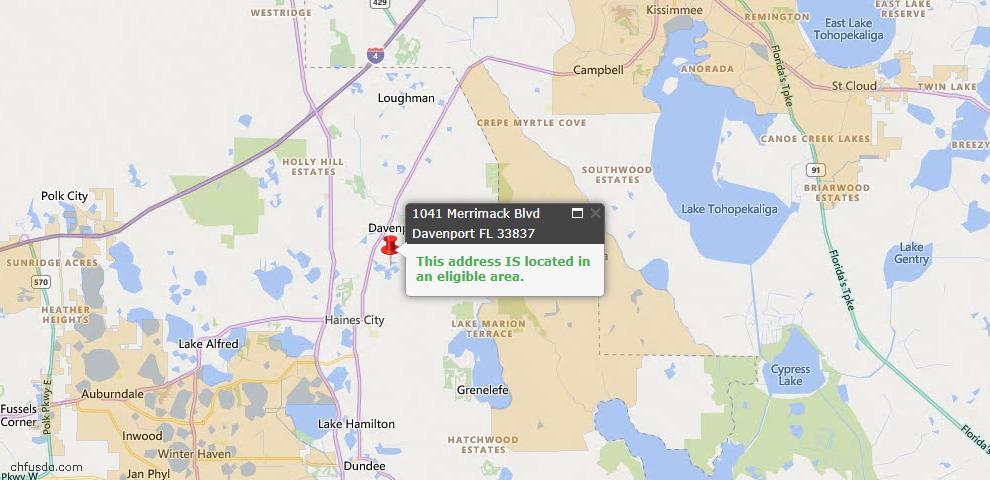 USDA Loan Eligiblity Map - 1041 Merrimack Bvld, Davenport, FL 33837