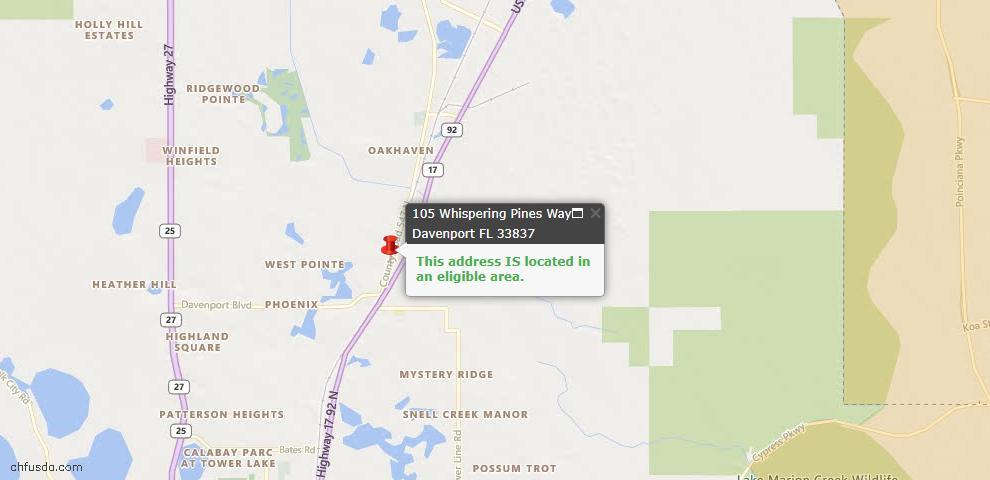 USDA Loan Eligiblity Map - 105 Whispering Pines Way, Davenport, FL 33837
