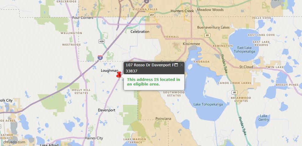 USDA Loan Eligiblity Map - 107 Rosso Dr, Davenport, FL 33837