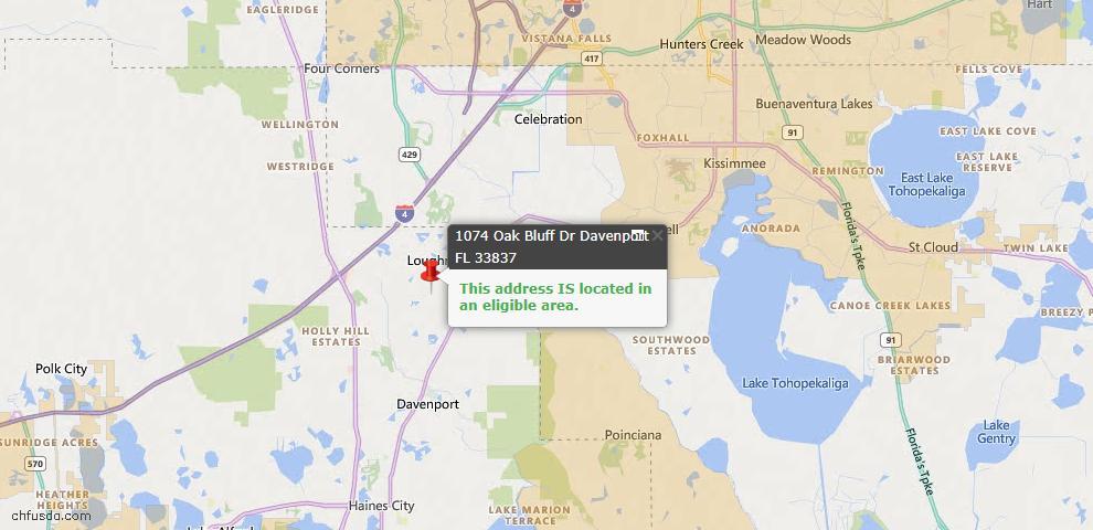 USDA Loan Eligiblity Map - 1074 Oak Bluff Dr, Davenport, FL 33837