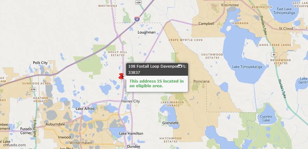 USDA Loan Eligiblity Map - 108 Foxtail Loop, Davenport, FL 33837