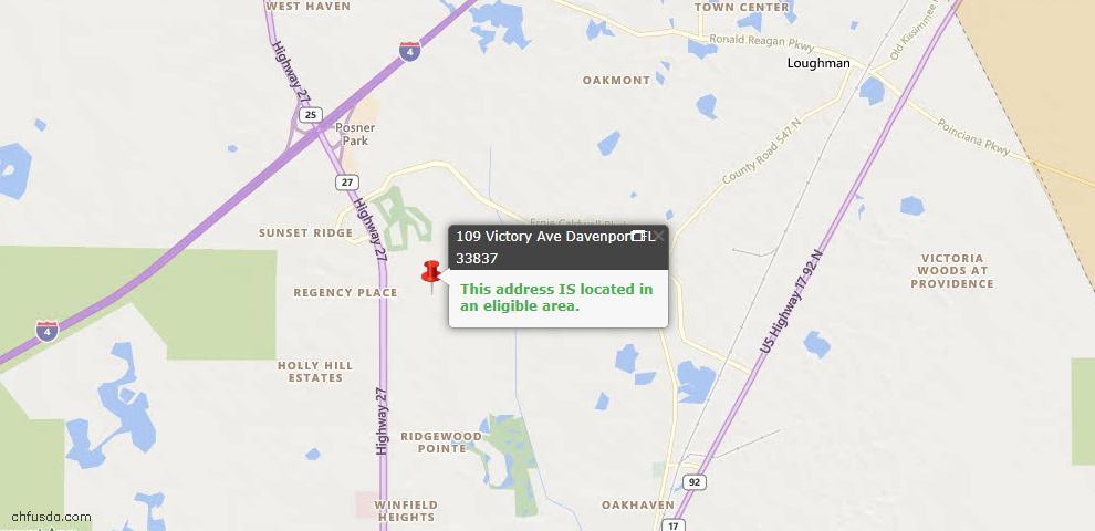 USDA Loan Eligiblity Map - 109 Victory Ave, Davenport, FL 33837