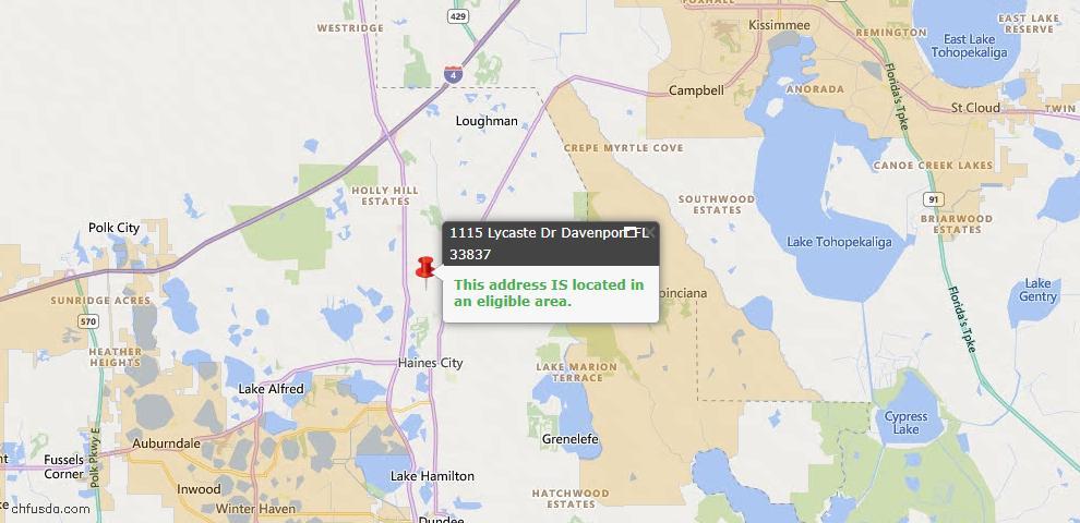 USDA Loan Eligiblity Map - 1115 Lycaste Dr, Davenport, FL 33837