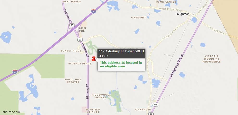 USDA Loan Eligiblity Map - 117 Aylesbury Ln, Davenport, FL 33837