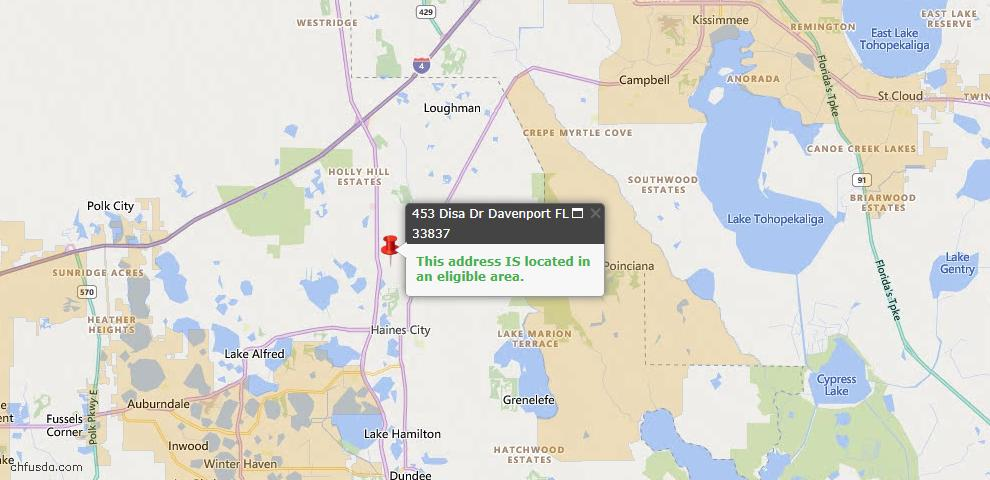 USDA Loan Eligiblity Map - 453 Disa Dr, Davenport, FL 33837