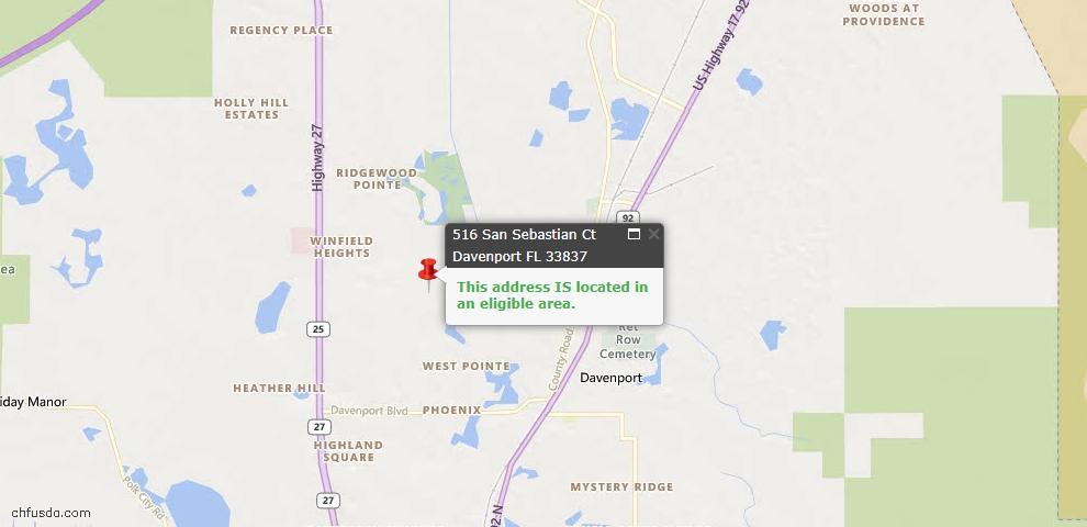 USDA Loan Eligiblity Maps From - Davenport, FL