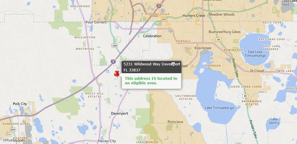 USDA Loan Eligiblity Map - 5231 Wildwood Way, Davenport, FL 33837