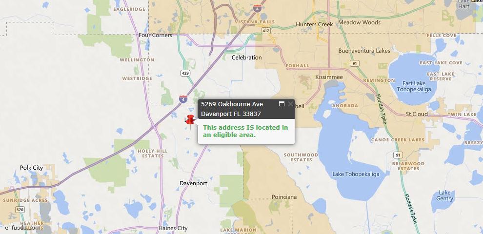 USDA Loan Eligiblity Map - 5269 Oakbourne Ave, Davenport, FL 33837
