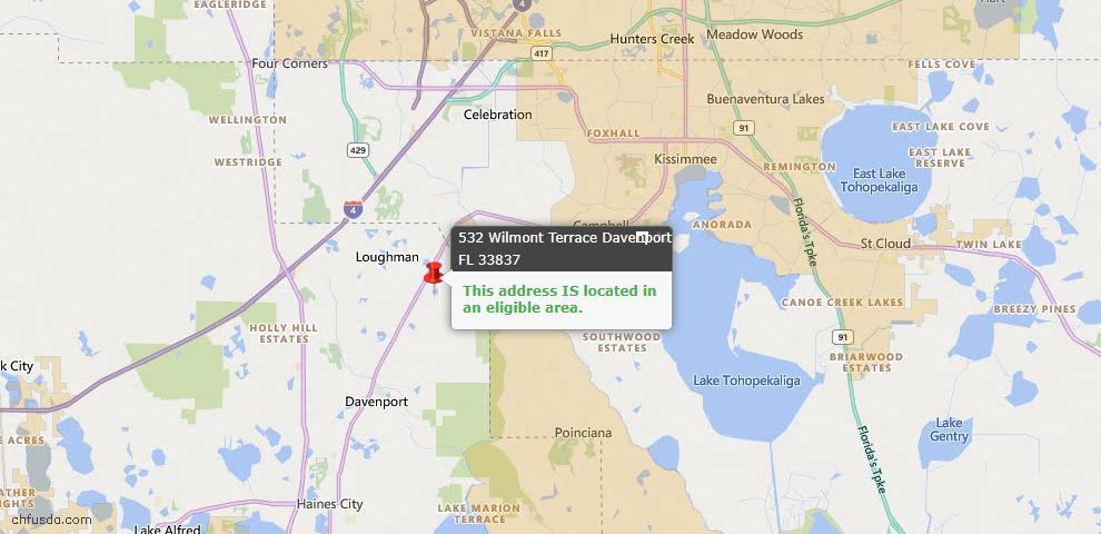 USDA Loan Eligiblity Map - 532 Wilmont Ter, Davenport, FL 33837