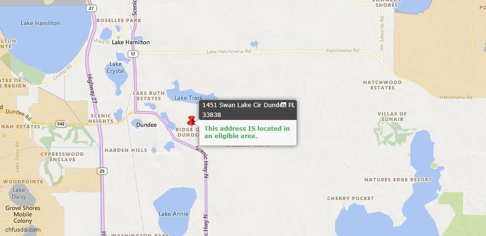 USDA Loan Eligiblity Map - 1451 Swan Lake Cir, Dundee, FL 33838