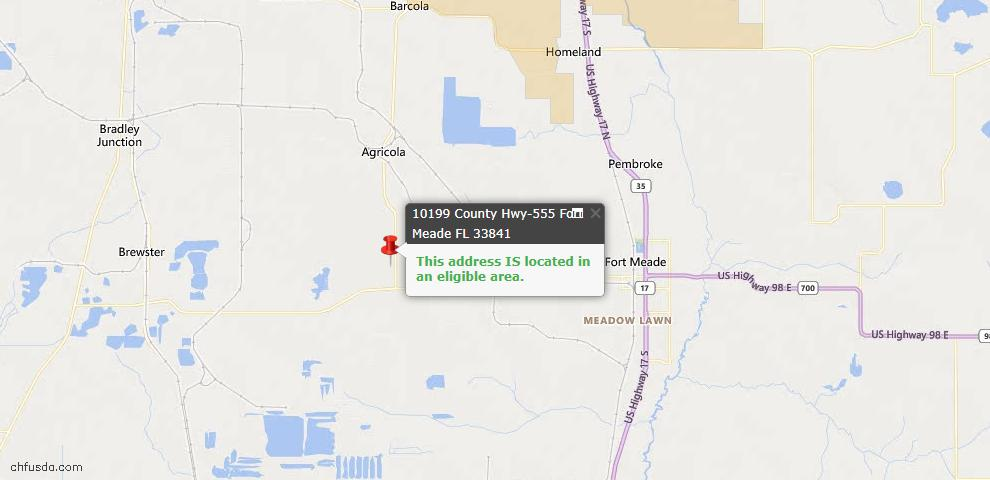 USDA Loan Eligiblity Map - 10199 Hwy 555 St, Fort Meade, FL 33841