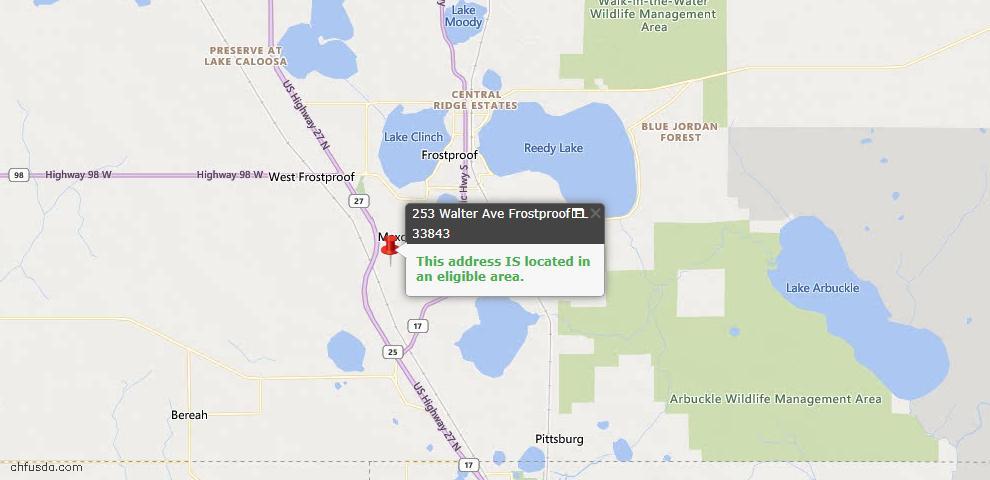 USDA Loan Eligiblity Map - 253 Walter Ave, Frostproof, FL 33843